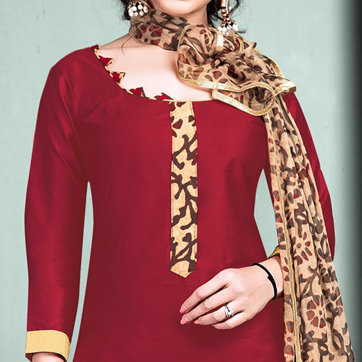 Marvellous Maroon Colored Semi-Patiala Style Cotton Dress Material