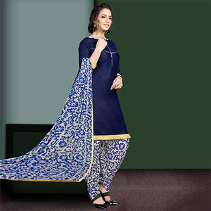 Attractive Blue Colored Semi-Patiala Style Cotton Dress Material