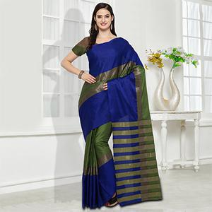 Blue-Green Colored Festive Wear Cotton Silk Saree