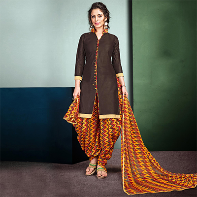 Stunning Brown Colored Semi-Patiala Style Cotton Dress Material