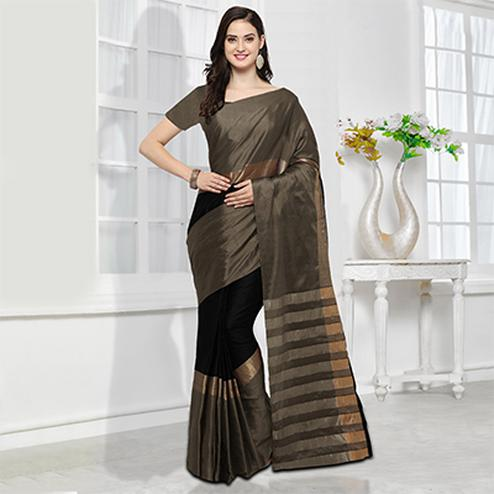 Brown-Black Colored Festive Wear Cotton Silk Saree