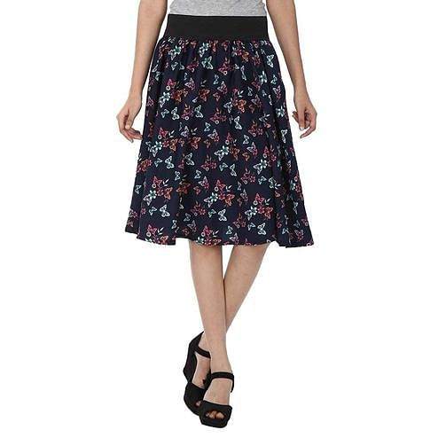OMADAM - Navy Blue Colored Casual Printed Crepe Skirt