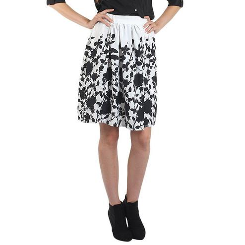 OMADAM - White Colored Casual Floral Printed Crepe Skirt