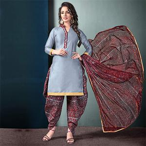 Gorgeous Gray Colored Semi-Patiala Style Cotton Dress Material