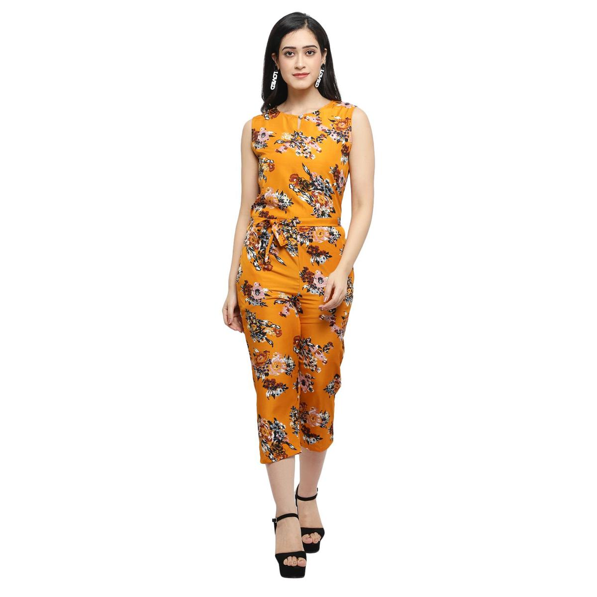 OMADAM - Yellow Colored Casual Printed Crepe Jumpsuit