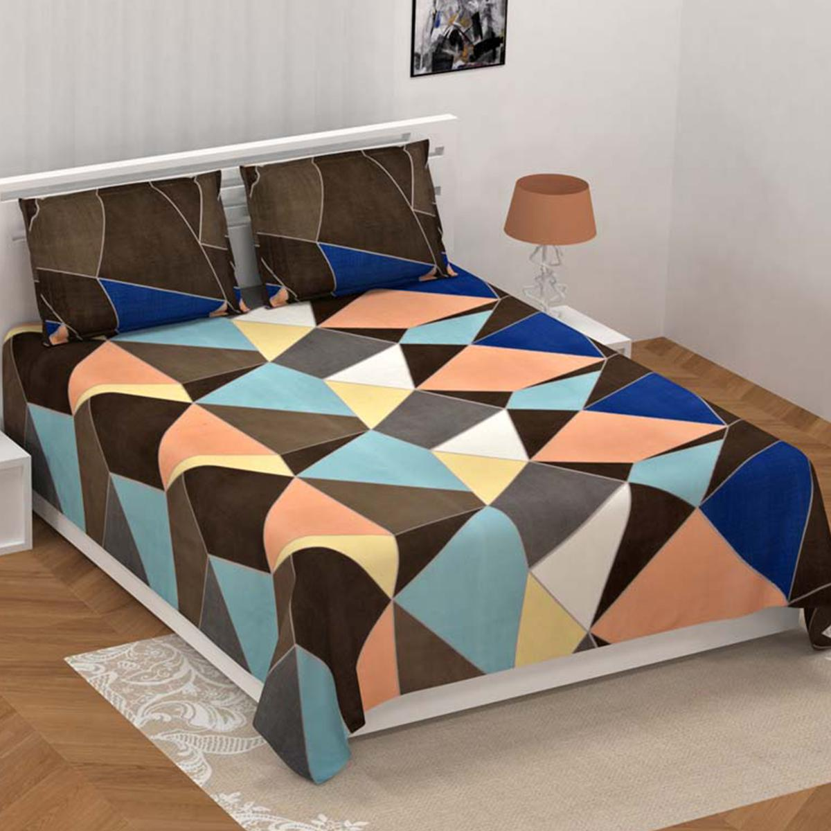Seamless Softness Multicolored Super-Soft Double Bedsheet With 2 Pillow Cover