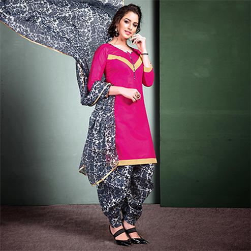 Adorable Pink Colored Semi-Patiala Style Cotton Dress Material
