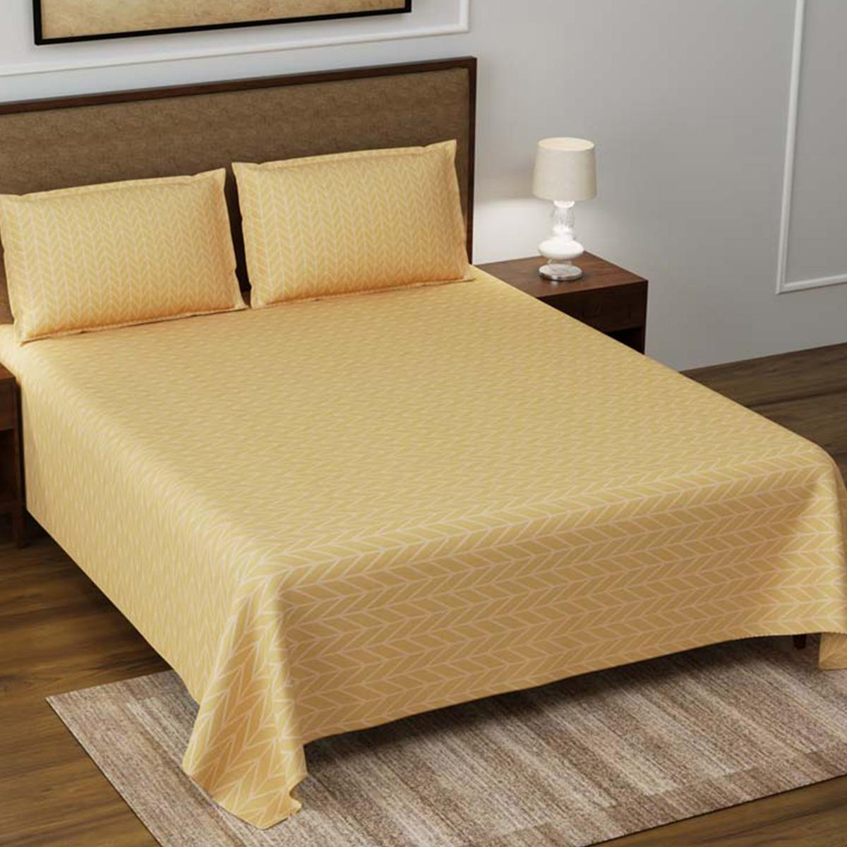 Creamish Gold Super Soft Double Bedsheet With 2 Pillow Cover