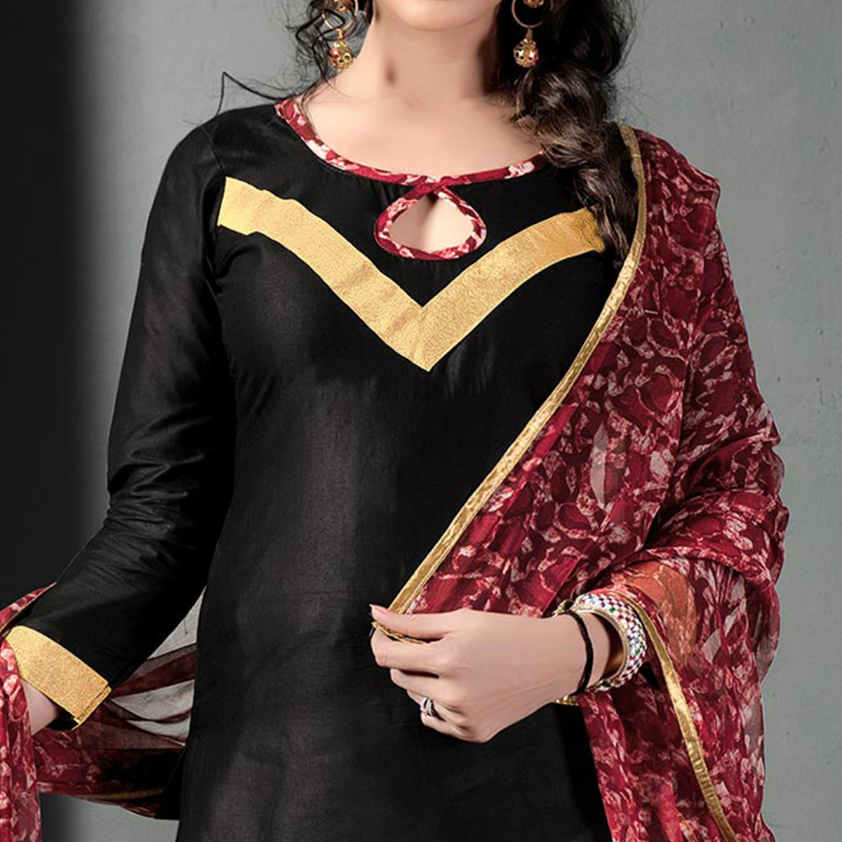 Mesmerising Black Colored Semi-Patiala Style Cotton Dress Material