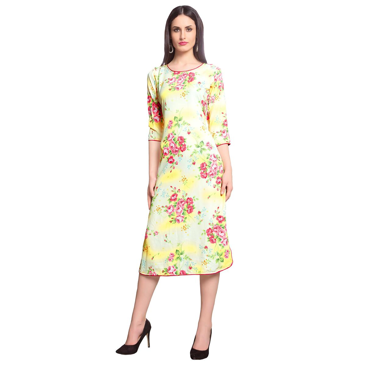Yellow - White Printed Crepe Kurti