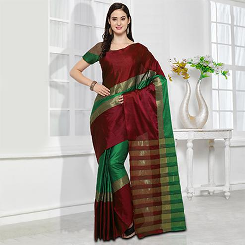 Red-Green Colored Festive Wear Cotton Silk Saree