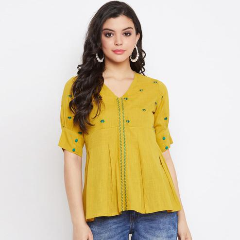 Winered -  Women Yellow Embroidered Cotton Top