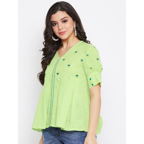 Winered -  Women Green Embroidered Cotton Top