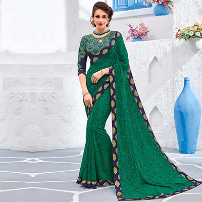 Gorgeous Green Colored Designer Printed And Embroidered Partywear Georgette Saree