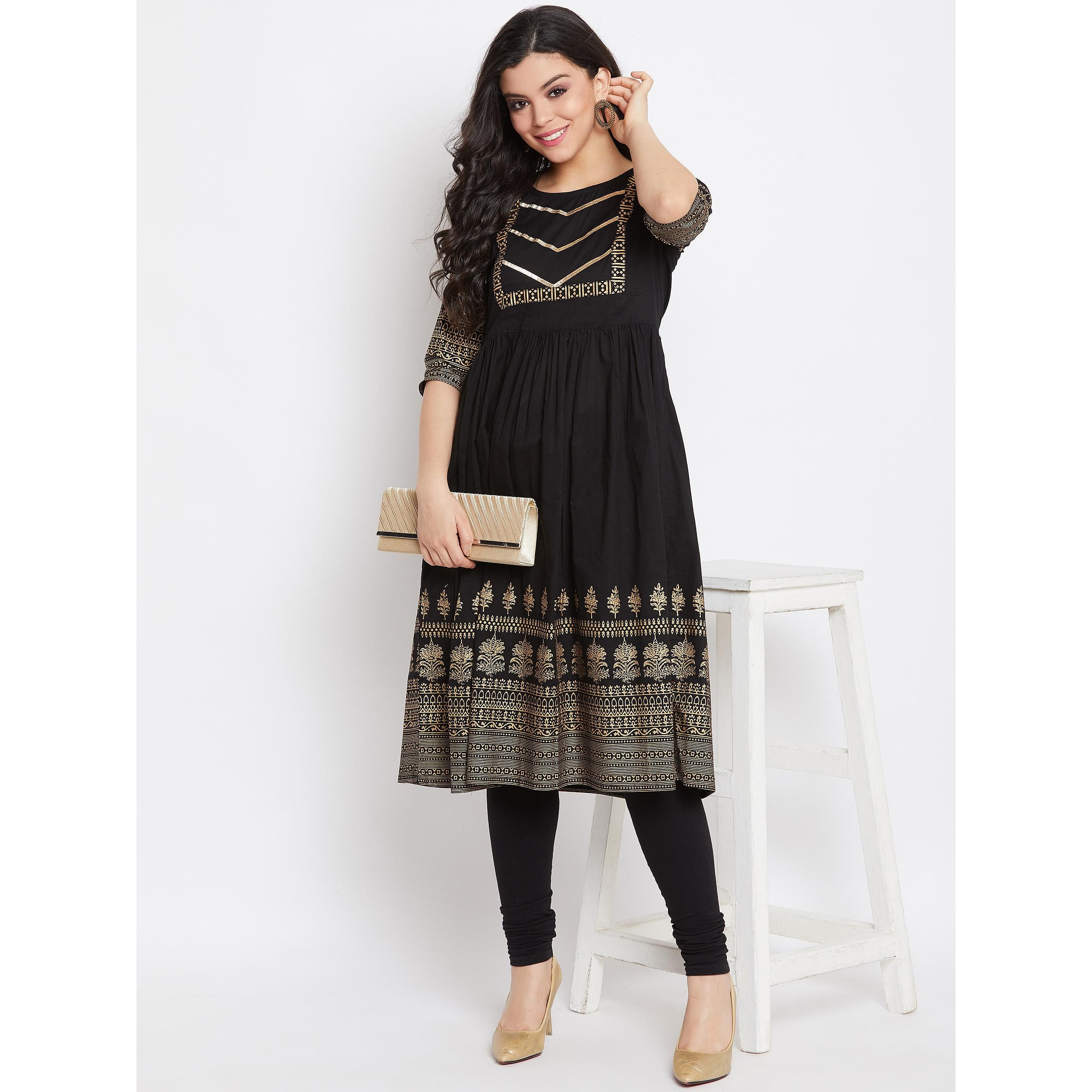 Winered -  Women Black Printed Flared Cotton Kurti