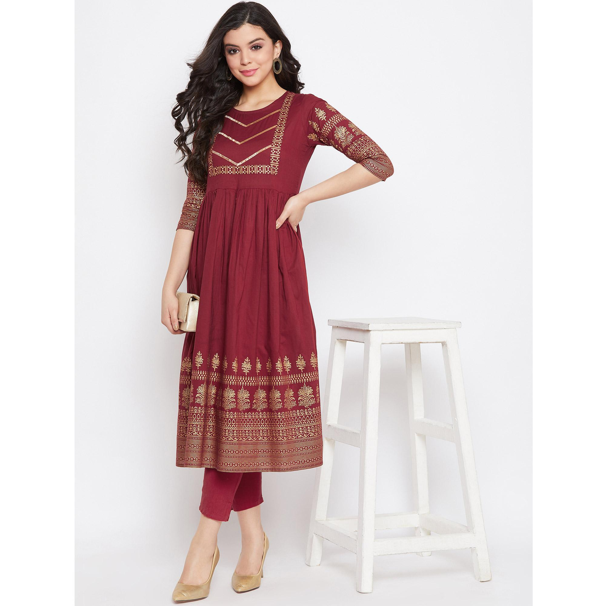 Winered -  Women Maroon Printed Flared Cotton Kurti