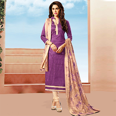 Pretty Purple Colored Art Silk Dress Material