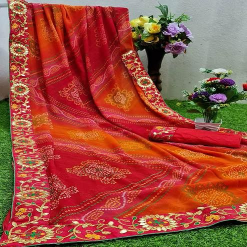 Pleasance Red Colored Partywear Printed Georgette Saree