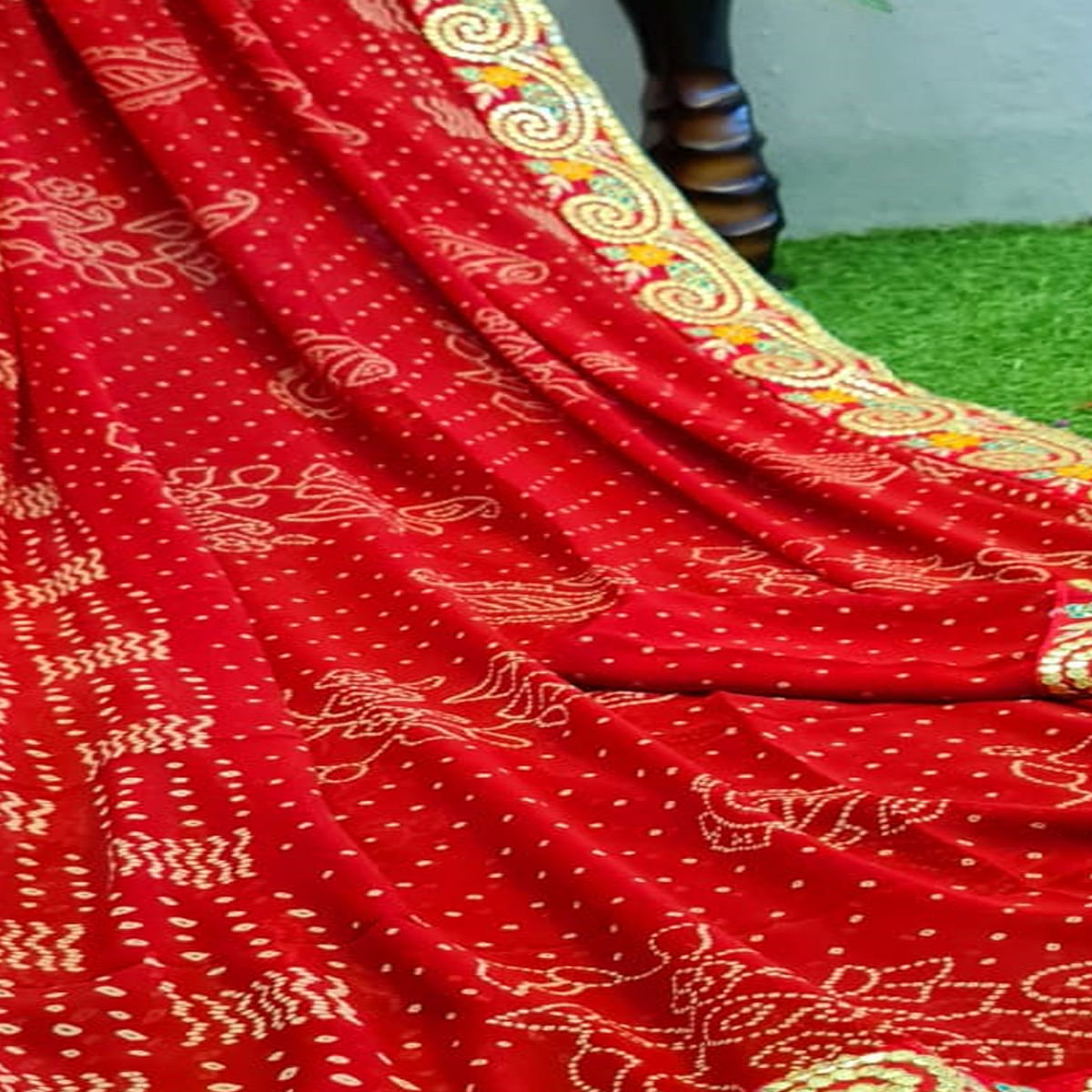 Breathtaking Red Colored Partywear Printed Georgette Saree