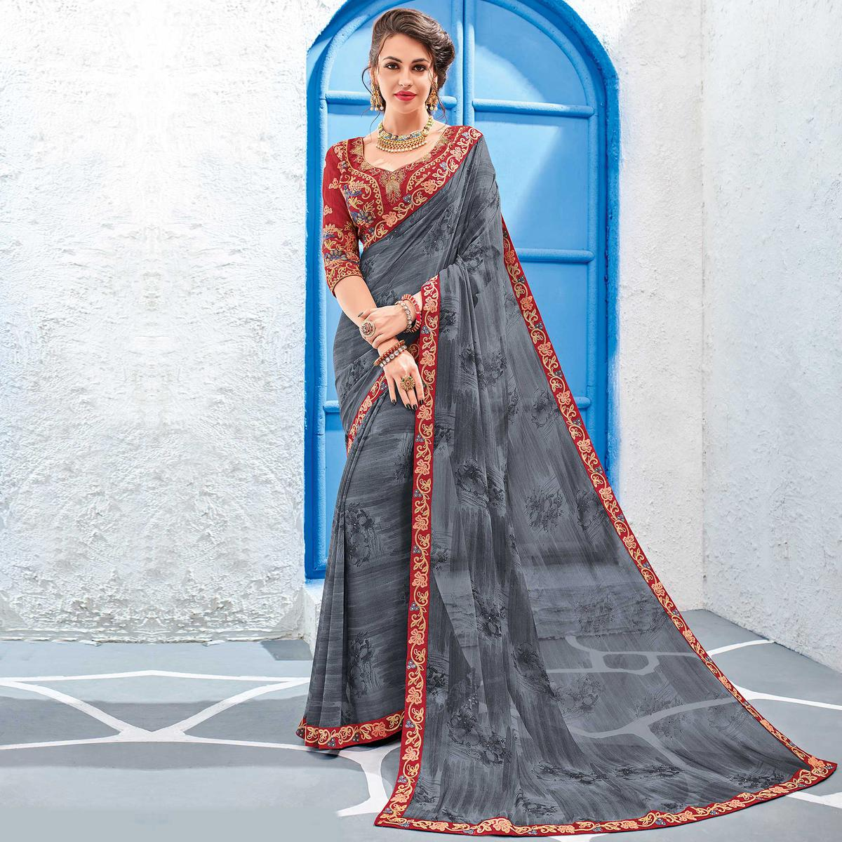 Graceful Grey Colored Designer Printed And Embroidered Partywear Georgette Saree