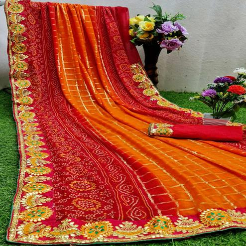 Ethnic Red - Orange Colored Partywear Printed Georgette Saree