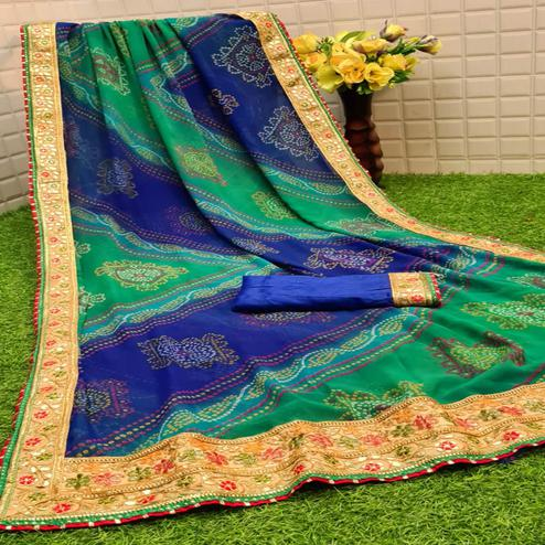 Staring Green - Blue Colored Partywear Printed Georgette Saree