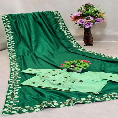 Dazzling Green Colored Partywear Embroidered Georgette Saree