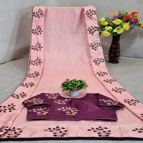 Sophisticated Light Pink Colored Festive Wear Solid Dola Silk Saree
