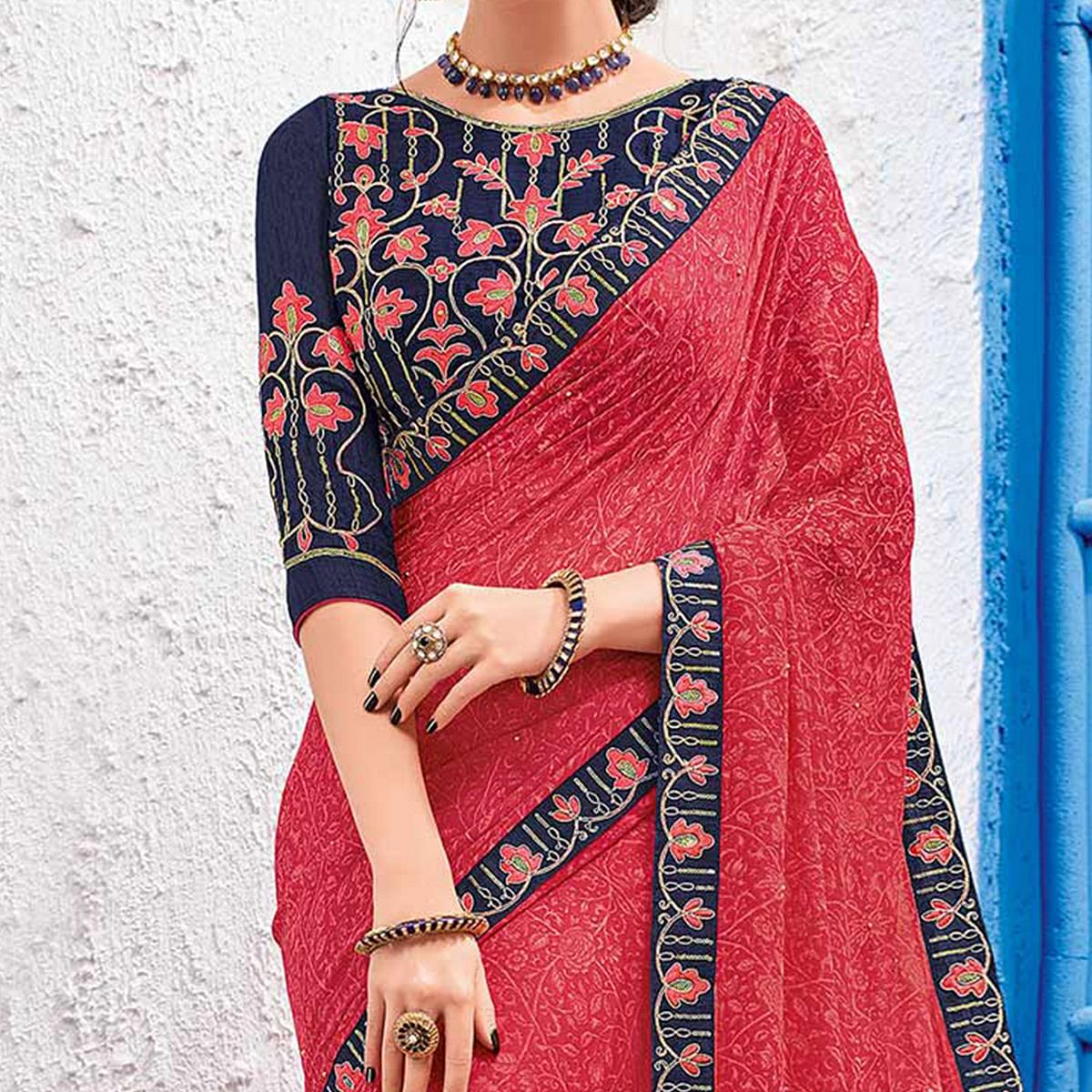 Attractive Pink Colored Designer Printed And Embroidered Partywear Georgette Saree
