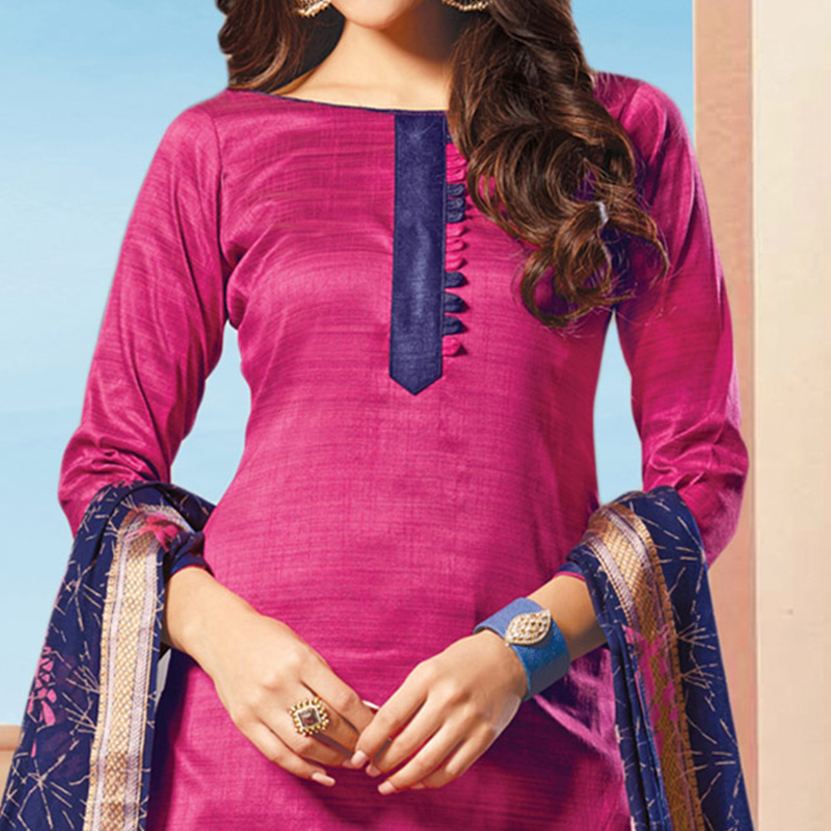 Lovely Pink Colored Art Silk Dress Material