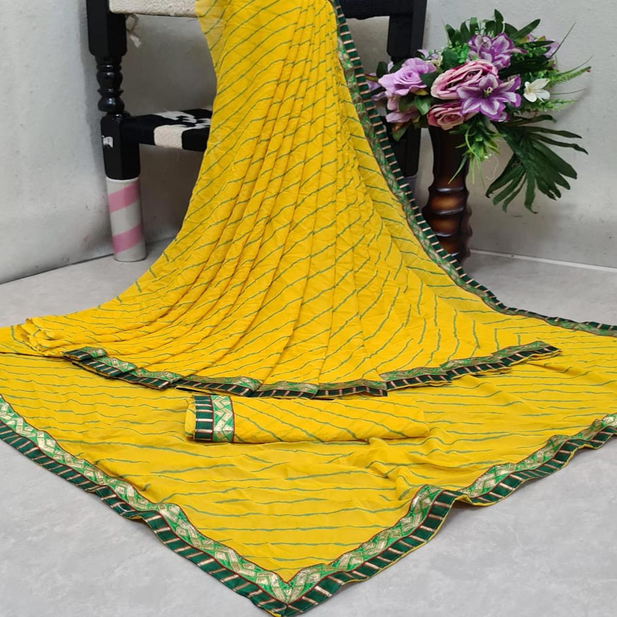 Excellent Yellow Colored Casual Printed Moss Georgette Saree
