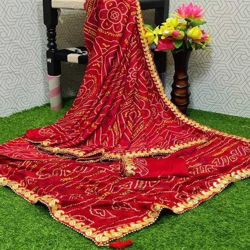 Flirty Red Colored Partywear Printed Moss Georgette Saree