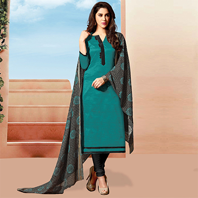 Graceful Green Colored Art Silk Dress Material
