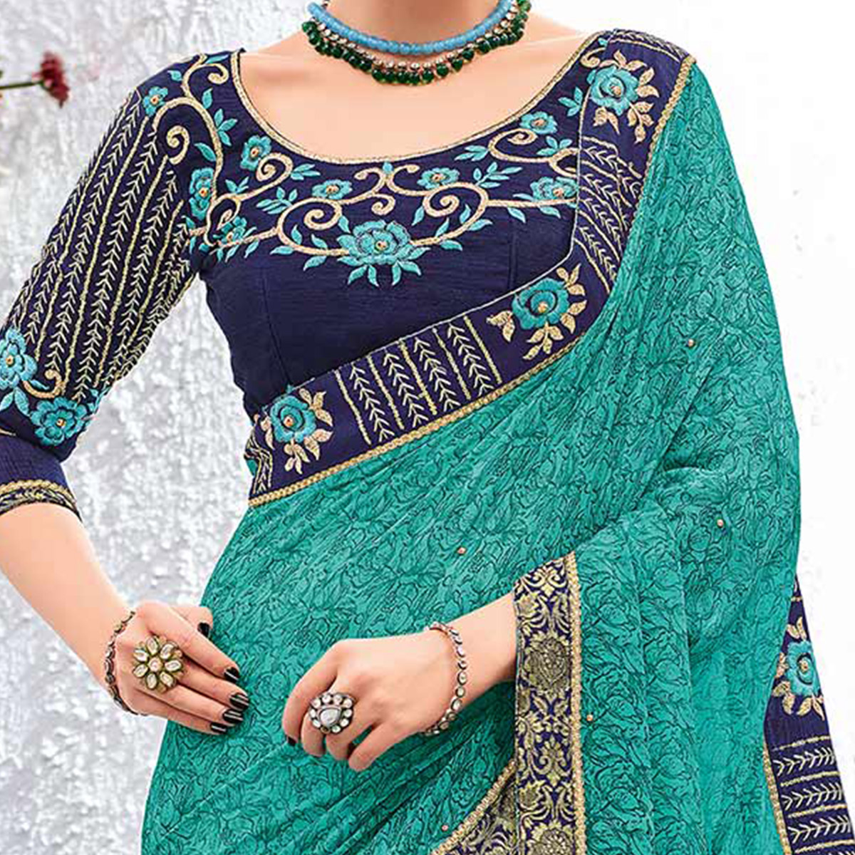 Glamorous Green Colored Designer Printed And Embroidered Partywear Georgette Saree