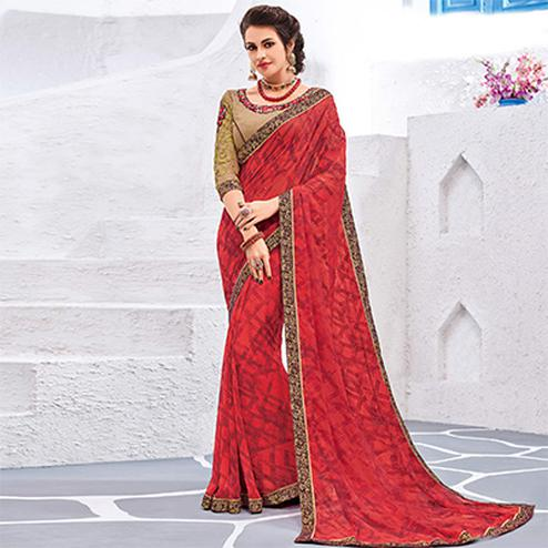 Hot Red Colored Designer Printed And Embroidered Partywear Georgette Saree