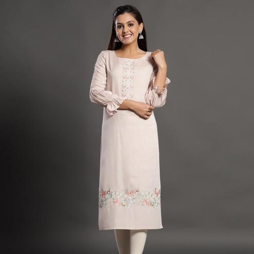 Desirable Light Pink Colored Casual Wear Printed Cotton Silk Kurti