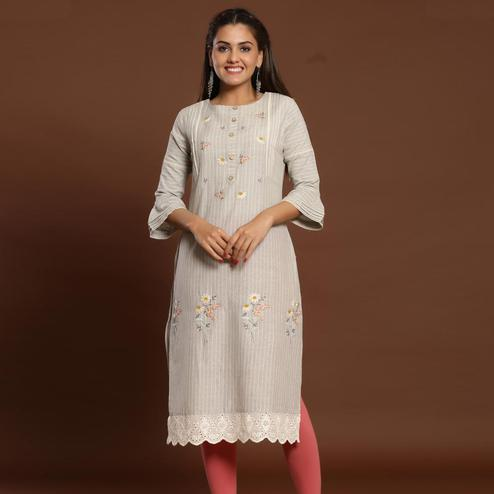 Radiant Offwhite Colored Casual Wear Embroidered Cotton Kurti