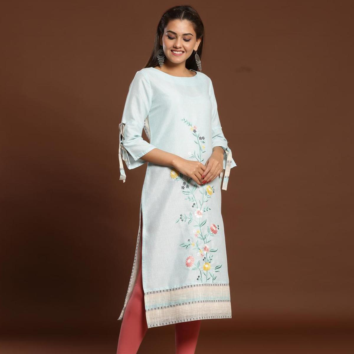 Opulent Light Blue Colored Casual Wear Embroidered Cotton Kurti