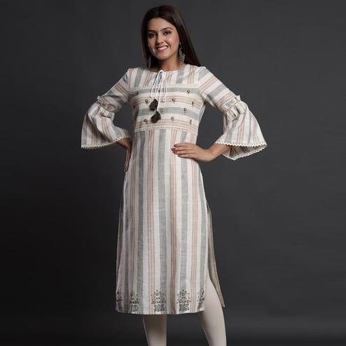 Energetic Offwhite Colored Casual Wear Embroidered Cotton Kurti
