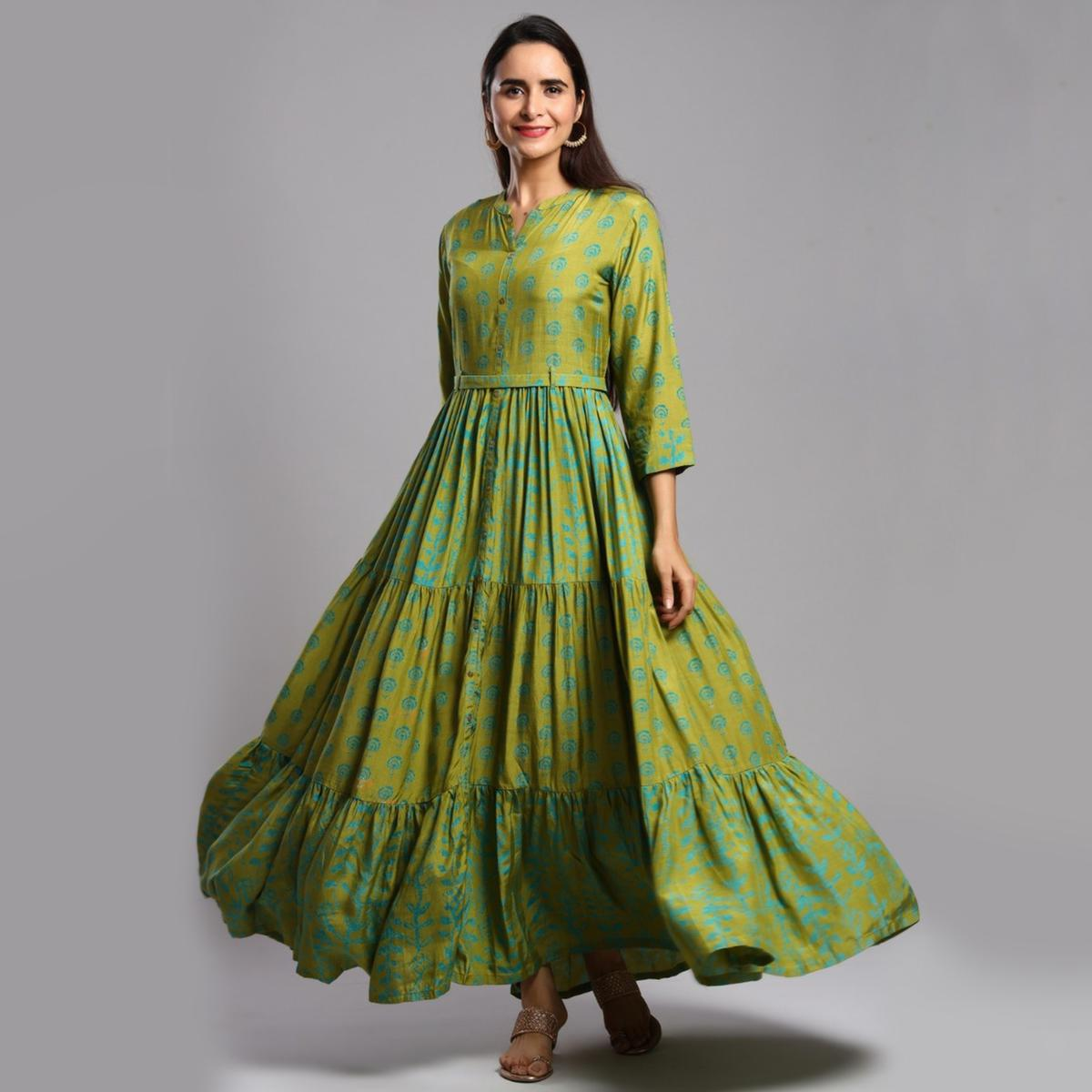 Exceptional Green Colored Partywear Printed Anarkali Style Cotton Silk Long Kurti
