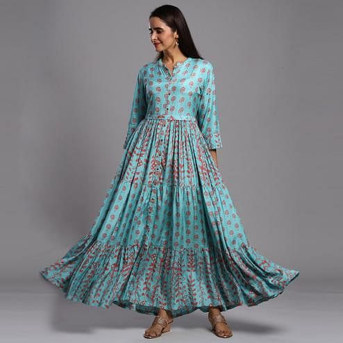 Gleaming Blue Colored Partywear Printed Anarkali Style Cotton Silk Long Kurti