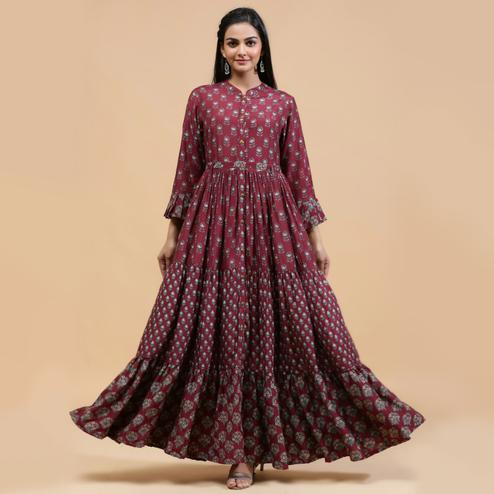 Mesmeric Wine Colored Partywear Printed Anarkali Style Cotton Silk Long Kurti