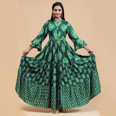 Unique Dark Green Colored Partywear Printed Anarkali Style Cotton Silk Long Kurti