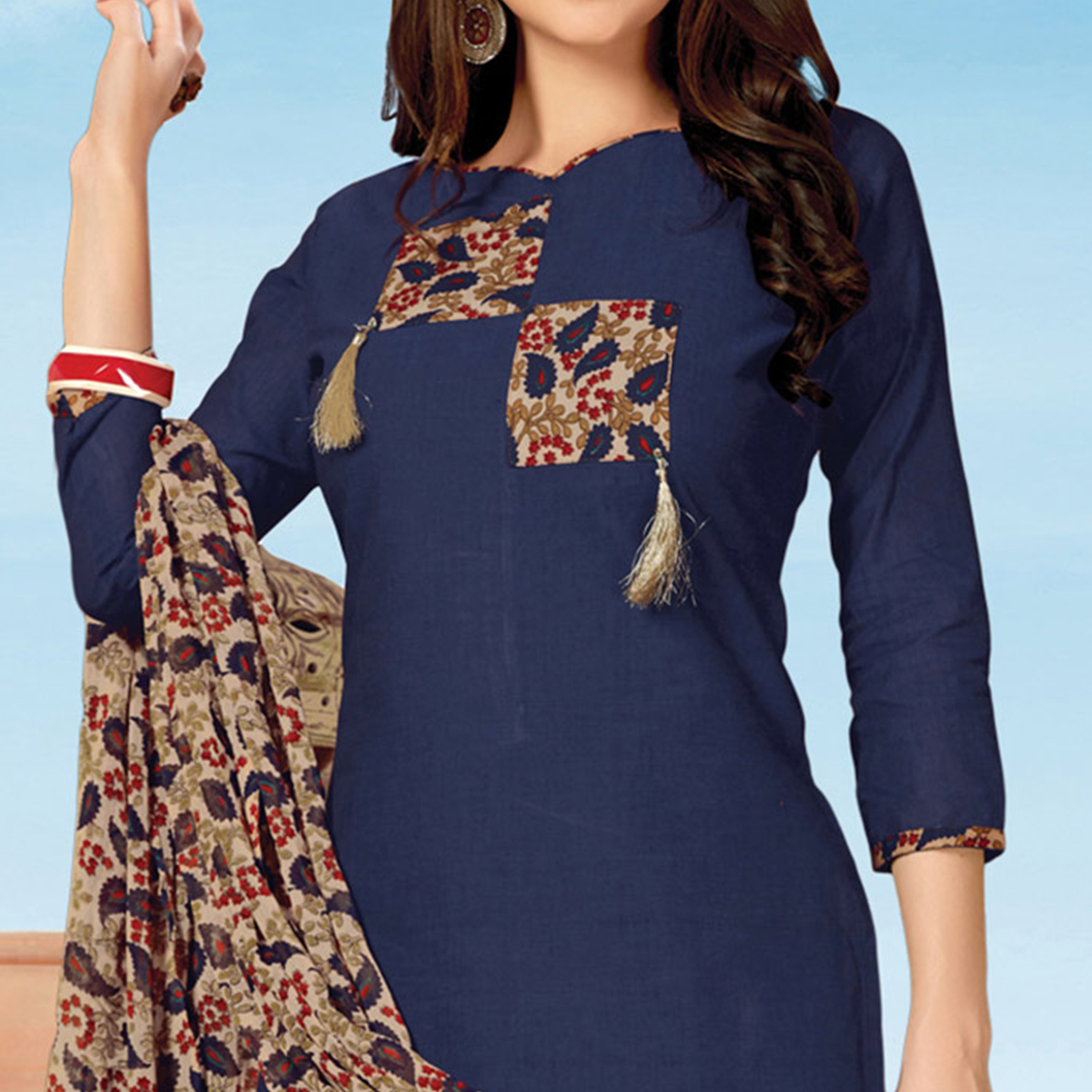 Gorgeous Navy Blue Colored Printed Cotton Dress Material