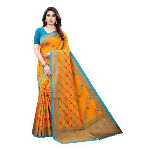Blooming Yellow Colored Festive Wear Floral Printed Art Silk Saree