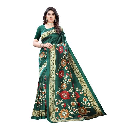 Engrossing Turquoise Colored Casual Wear Floral Printed Art Silk Saree