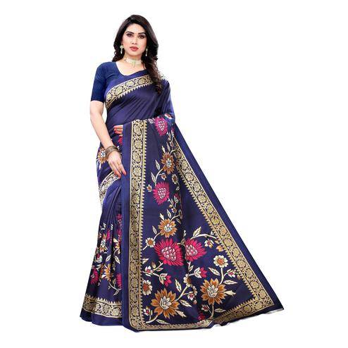 Captivating Blue Colored Casual Wear Floral Printed Art Silk Saree