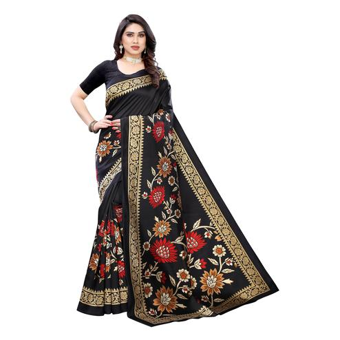 Innovative Black Colored Casual Wear Floral Printed Art Silk Saree