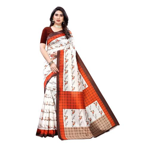 Eye-catching Off White-Orange Colored Casual Wear Bird Printed Art Silk Saree