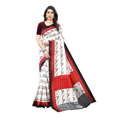 Amazing Off White-Red Colored Casual Wear Bird Printed Art Silk Saree